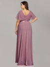 Plus Size Long Empire Waist Evening Dress With Short Flutter Sleeves-Purple Orchid 2