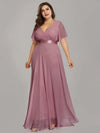 Long Empire Waist Evening Dress With Short Flutter Sleeves-Purple Orchid 8