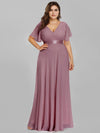 Plus Size Long Empire Waist Evening Dress With Short Flutter Sleeves-Purple Orchid 1