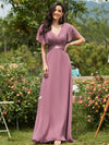 Long Empire Waist Evening Dress With Short Flutter Sleeves-Purple Orchid 1