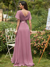 Long Empire Waist Evening Dress With Short Flutter Sleeves-Purple Orchid 2