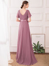 Long Empire Waist Evening Dress With Short Flutter Sleeves-Purple Orchid 5