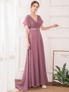 Long Empire Waist Evening Dress With Short Flutter Sleeves-Purple Orchid 4