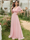 Long Empire Waist Evening Dress With Short Flutter Sleeves-Pink 1