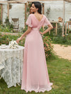 Long Empire Waist Evening Dress With Short Flutter Sleeves-Pink 2