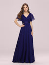 Long Empire Waist Evening Dress With Short Flutter Sleeves-Royal Blue 3