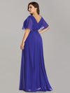 Long Empire Waist Evening Dress With Short Flutter Sleeves-Sapphire Blue 6