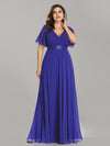 Long Empire Waist Evening Dress With Short Flutter Sleeves-Sapphire Blue 5