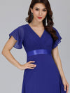 Long Empire Waist Evening Dress With Short Flutter Sleeves-Sapphire Blue 3