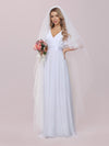 Minimalist A-Line Maxi Chiffon Wedding Dress With Satin Belt-White 4