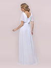 Minimalist A-Line Maxi Chiffon Wedding Dress With Satin Belt-White 5
