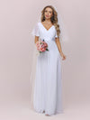 Minimalist A-Line Maxi Chiffon Wedding Dress With Satin Belt-White 6