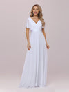 Minimalist A-Line Maxi Chiffon Wedding Dress With Satin Belt-White 7