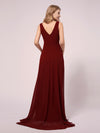 V-Neck High-Low Chiffon Evening Maternity Dresses-Burgundy 2
