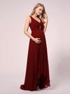 V-Neck High-Low Chiffon Evening Maternity Dresses-Burgundy 3