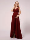 V-Neck High-Low Chiffon Evening Maternity Dresses-Burgundy 5