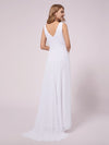 V-Neck High-Low Chiffon Evening Maternity Dresses-White 2