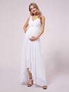 V-Neck High-Low Chiffon Evening Maternity Dresses-White 3
