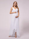 V-Neck High-Low Chiffon Evening Maternity Dresses-White 1