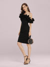 Women'S Sexy Off Shoulder Bodycon Party Dress With Ruffles-Black 3