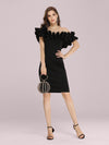 Women'S Sexy Off Shoulder Bodycon Party Dress With Ruffles-Black 4
