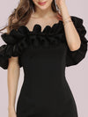 Women'S Sexy Off Shoulder Bodycon Party Dress With Ruffles-Black 5