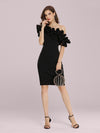 Women'S Sexy Off Shoulder Bodycon Party Dress With Ruffles-Black 1