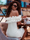 Women'S Sexy Off Shoulder Bodycon Party Dress With Ruffles-White 1