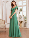 Elegant Floor Length Ruffled V-neck Chiffon Bridesmaid Dress-Green Blue 3