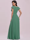 Elegant Floor Length Ruffled V-neck Chiffon Bridesmaid Dress-Green Blue  5