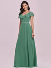 Elegant Floor Length Ruffled V-neck Chiffon Bridesmaid Dress-Green Blue  6