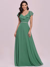 Elegant Floor Length Ruffled V-neck Chiffon Bridesmaid Dress-Green Blue  7