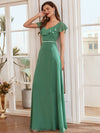Elegant Floor Length Ruffled V-neck Chiffon Bridesmaid Dress-Green Blue 1