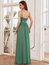 Elegant Floor Length Ruffled V-neck Chiffon Bridesmaid Dress-Green Blue 2