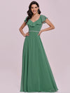 Elegant Floor Length Ruffled V-neck Chiffon Bridesmaid Dress-Green Blue  4