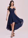 Asymmetrical Cold-Shoulder Chiffon High-Low Bridesmaid Dress-Navy Blue 5