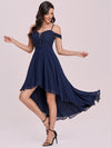 Asymmetrical Cold-Shoulder Chiffon High-Low Bridesmaid Dress-Navy Blue 6