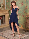 Asymmetrical Cold-Shoulder Chiffon High-Low Bridesmaid Dress-Navy Blue 1