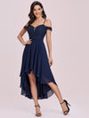 Asymmetrical Cold-Shoulder Chiffon High-Low Bridesmaid Dress-Navy Blue 3