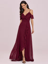 Cold Shoulder V Neck Asymmetrical Hem Long Chiffon Bridesmaid Dress-Burgundy 7