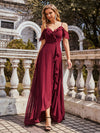 Cold Shoulder V Neck Asymmetrical Hem Long Chiffon Bridesmaid Dress-Burgundy 1