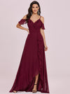 Cold Shoulder V Neck Asymmetrical Hem Long Chiffon Bridesmaid Dress-Burgundy 4