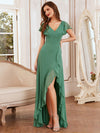 Cute Floor Length V Neck Chiffon Bridesmaid Dress-Green Bean 1