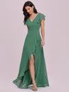 Cute Floor Length V Neck Chiffon Bridesmaid Dress-Green Bean 7