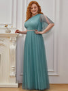 Plus Size A-Line Tulle Bridesmaid Dress With Beaded Waistline-Dusty Blue 3