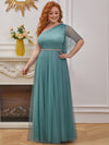 Plus Size A-Line Tulle Bridesmaid Dress With Beaded Waistline-Dusty Blue 4
