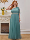 Plus Size A-Line Tulle Bridesmaid Dress With Beaded Waistline-Dusty Blue 1