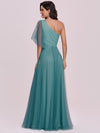 Simple Maxi One Shoulder Tulle Bridesmaid Dress-Dusty Blue 5