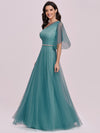 Simple Maxi One Shoulder Tulle Bridesmaid Dress-Dusty Blue 6