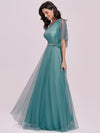 Simple Maxi One Shoulder Tulle Bridesmaid Dress-Dusty Blue 7